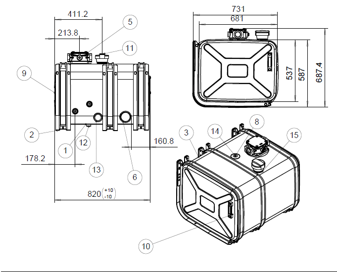 """Alumiininen hydrauliikkaöljysäiliö paketti AHPK250L2""""+3"""""""