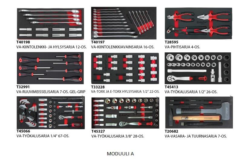 Promaster työkaluvaunu kuudella laatikolla ja työkaluilla IKUINEN MATERIAALITAKUU TYÖKALUILLA