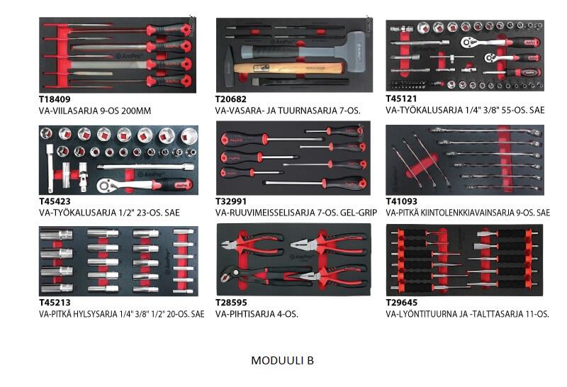 Promaster työkaluvaunu kuudella laatikolla ja työkaluilla IKUINEN MATERIAALITAKUU TYÖKALUILLA - Kailatec Oy Verkkokauppa